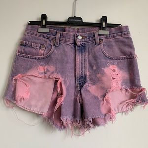 Levi's Vintage Pink Distressed High Waisted Shorts